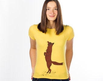 Silk Screen-Printed Red Fox on Vintage Yellow