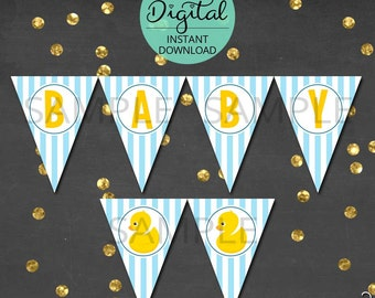 Rubber Ducky Baby Shower Decoration, Pennant Banner, Rub a dub dub, Digital Baby Shower, Rubber Duck, New Baby, INSTANT DOWNLOAD #4986