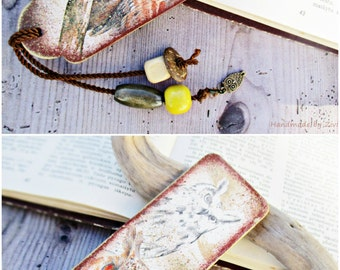 Owl Wood Decoupage Bookmark, Birds Bookmark, Woodland Bookmark, Bird Owls Lover Gift, Nature Bookmark, Book Accessory, Gift For Readers