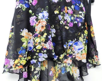 Black multi-colored floral ballet wrap skirt - Long