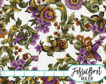 PURPLE & GOLD BUTTERFLY Fabric by the Yard, Fat Quarter Green Scroll and Butterflies Fabric Floral 100% Cotton Fabric Quilt Fabric t2-10
