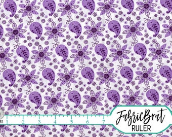 PURPLE PAISLEY Fabric by the Yard, Fat Quarter Purple Fabric Floral Fabric 100% Cotton Fabric Quilting Fabric Apparel Fabric Yardage w2-12