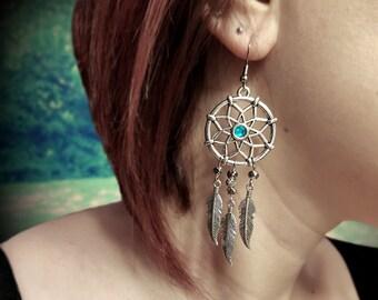 Dreamcatcher Earrings, boho earrings, feather earrings, long earrings, tribal earrings, tribal jewelry, chandelier earrings,