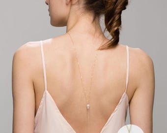 Pearl Back Necklace // Bridal Jewelry, Backdrop necklace with Pearl, Back chain for Back less dress, low back dress   EL024