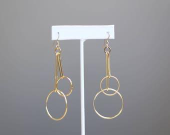 Two Circle Dangle Earrings // Geometric shape earrings // Long earrings