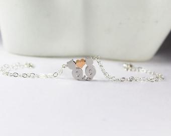 Initial Cats Bracelet , 2 Kitty Jewelry, Cat Lover Pendant,Pet ,Personalized Cat Bracelet, Kittens  Bracelet,CoupleJewelry,Everyday Jewelry,