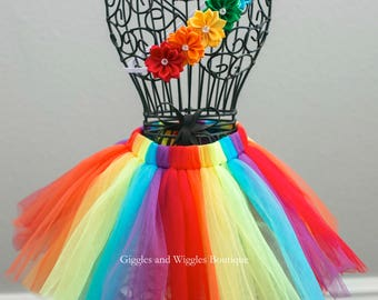 Rainbow baby tutu skirt and headband set, baby girl clothes, infant headbands, baby skirt, photo prop, newborn girl, baby shower
