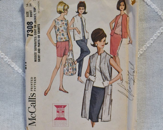 Vintage McCalls 7308 Sewing Pattern Crafts Misses Jacket Top Skirt Pants Shorts Size 14 DIY Sewing Crafts PanchosPorch