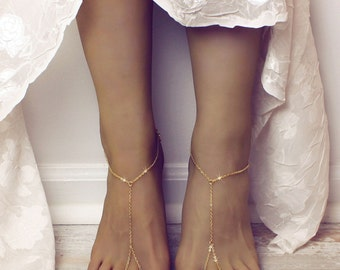 MInimalist Barefoot Sandals Gold Anklet Golden Foot Jewelry Minimalist Sandals Gold Toe to Ankle Ring Gypsy Sandals Bohemian Jewelry Boho