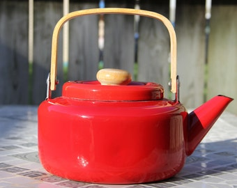 Bright Red Enamel Tea Kettle with Wood Handle/Vintage Kitchen/Retro Kitchen/Teapot