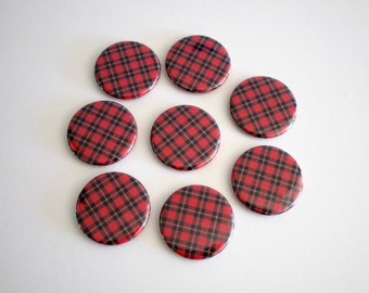 Red Plaid Refrigerator Magnet Set - Red Fridge Magnets - Red Kitchen, Office Decor - Rustic Fall or Winter Home Decor - Housewarming Gift