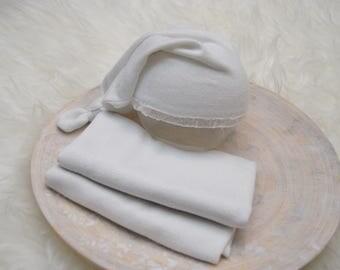 Newborn Set: Stretch Wrap & Sleepy Hat, Newborn Girl Photo Prop, Baby Picture Prop, Newborn Hat, Cotton Fabric Wrap, White, Baby Girl Hat