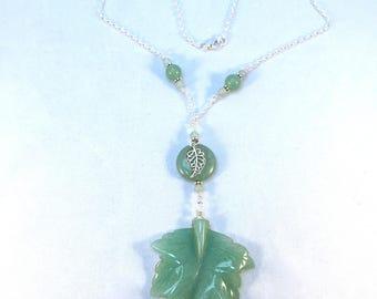 Green Leaf Pendant, Carved Stone Leaf, Green Adventurine, Adventurine Pendant, Semi Precious Stone, Large Carved Leaf, Green Necklace