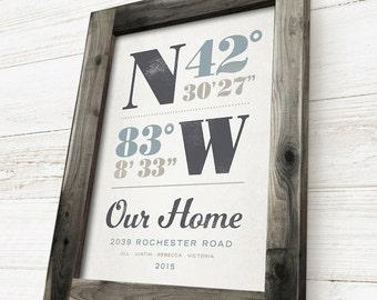 Framed Longitude and Latitude Sign, Framed Housewarming Gift, Handcrafted Barnwood Frame, First Home Gift
