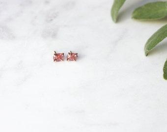 Rose Cut Pink Tourmaline Stud Earrings