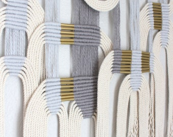 """Macrame Wall Hanging """"gry + wht #2"""" by HIMO ART, One of a kind Handcrafted Macrame, rope art"""