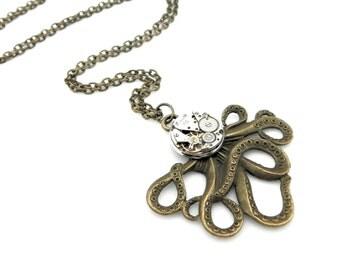 Clockwork Cephalopod Necklace - The Brainiacs Steampunk Octopus Necklace - Clockpunk Octopus - Steampunk Gift Idea