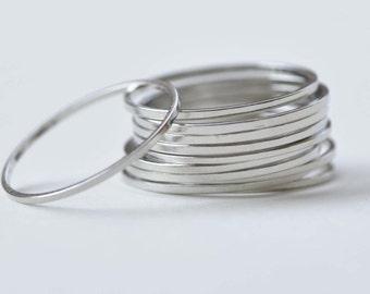 50 pcs Platinum Tone Brass Seamless Rings 20mm 18gauge A8726