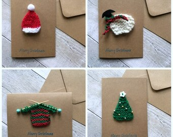 Knitted Christmas card set, Unique Christmas cards, Handmade holiday cards, Set of 4, Fun Christmas Cards, Novelty Christmas Cards