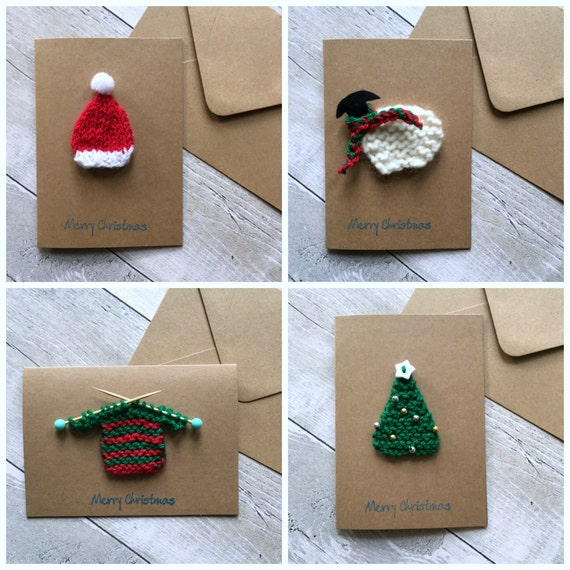 Knitting Patterns For Christmas Cards : Knitted Christmas card set Unique Christmas cards Handmade