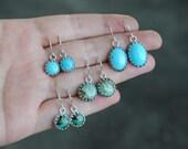 Sterling Silver Turquoise Earrings - Turquoise Crown Dangle Earrings