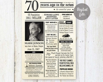 Fun facts 1947 - 70th birthday poster - Custom 70th Birthday Gift for grandpa dad parents or father in law Happened 1947 - DIGITAL FILE!