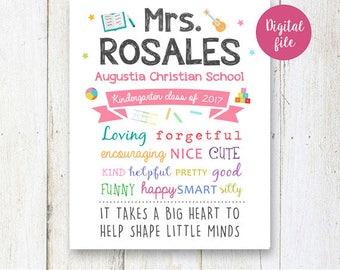 The Best Kindergarten and Preschool Teacher Gift  - Customized Teacher gift sign - appreciation gift - Printable DIGITAL poster