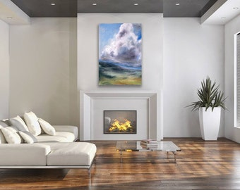 LARGE WALL DECOR sky blue, green, violet, white canvas or paper giclee art print of pastel painting by Kauai, Hawaii fine artist Donia Lilly