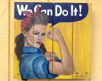 Rosie Riveter Pin-Up Girl Painting on Wood 14x14, Made to Order