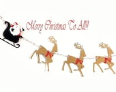 Santa Sleigh with Reindeer Christmas Garland, Holiday Banner, Die Cut Wall Hanging, Folk Art Paper Decoration, Party Backdrop Photo Prop