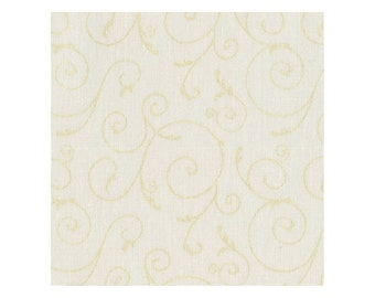 Christmas Fabric, Scroll Fabric, Pearlized Design, - Pearl Essence Maywood Studio 103 I Cream Gold - Priced by the 1/2 yard