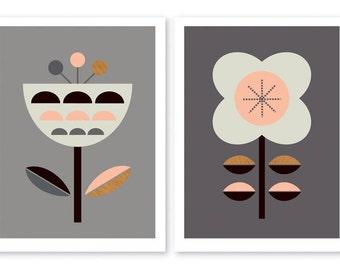 Scandinavian Flowers (Dark Grey and Pink),Series of Two. Kids room art,Scandinavian,Girls room art,Modern kids art,Nursery art,Nursery decor