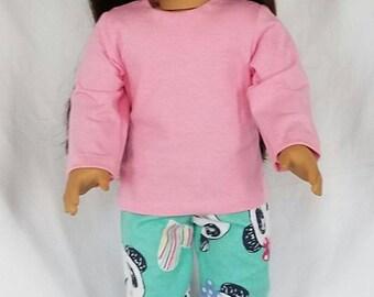 18 inch pajamas, pink pajamas, panda pajamas, american made, girl doll clothes, spring 18 inch doll clothes, 18 inch doll clothes