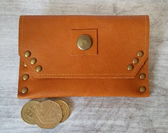 Leather coin purse, Purse, Leather card holder, Change Purse, Business card holder, Coin Wallet, 3rd Anniversary Gift, Metal Rivets, Leather