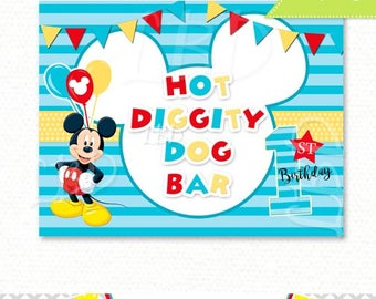 "Mickey Mouse 1st Birthday Hot Diggity Dog Bar | 8.5"" x 11"" 