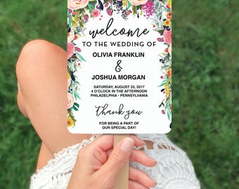 Wedding Programs - Wedding Program Template - Secret Garden Wedding Fan Program - Editable Wedding Program - DIY Program - Instant Download