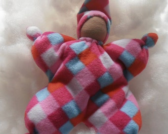 Waldorf style first doll for baby to cuddle,  very soft and light , body is made   from fleece