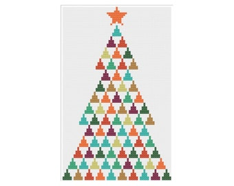 Modern Christmas Tree Cross Stitch Pattern PDF ** Instant Download **