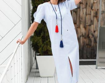 Blue striped summer dress swimwear beach cover up midi dress