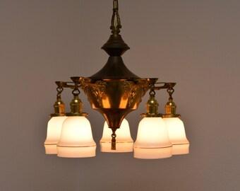 Vintage Pan Light   Brass Chandelier   Vintage Lighting Fixture   Dining  Room Lighting Fixture