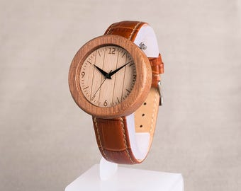 Female / kids brown Wooden watch. Natural Sapele wood watches. Personalized  Wooden Watch brown leather strap. Engraving wood watch.