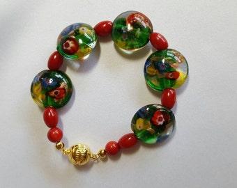 Green Murano Bead Bracelet
