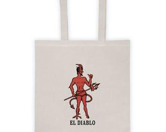 Loteria Tote Bag - El Diablo Card - Loteria Card Tote Bag - Occult Graphic Tote - Occult Bag - Mexican Loteria Bag