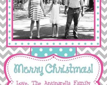 Grey, Aqua, and Pink Chevron Photo Christmas Card