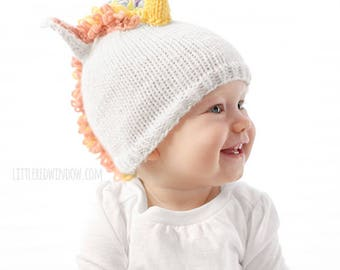 Magical Unicorn Hat KNITTING PATTERN - knit hat pattern for babies, infants - sizes 0-3 months, 6 months, 12 months, 2T+