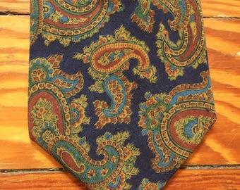 Vintage 70s Saks Fifth Avenue Dark Blue Olive Paisley Tie