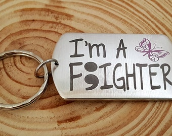 I'm A FIGHTER Engraved Semi Colon and Butterfly Key Chain | Semi Colon Project | Engraved  Name on the backside