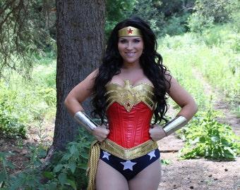 Wonder Superhero Woman COSTUME w/SEQUINS and 3 Star Bottoms