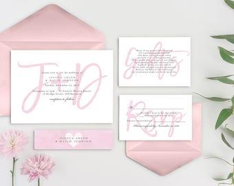 Blush Wedding Invitation, Calligraphy Wedding Invitation, Monogram Wedding Invitation, Pink Invitations, Printed Wedding Invitations