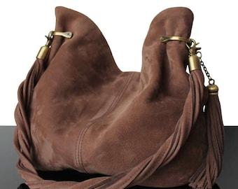 Bucket brown bag, leather bags, brown suede bags, bucket suede brown, brown handbags
